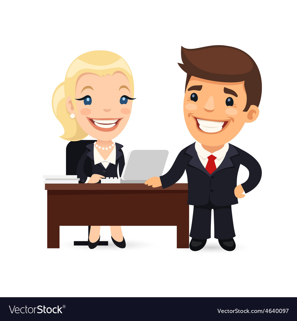 Boss and secretary planning business day vector | Price: 3 Credit (USD $3)