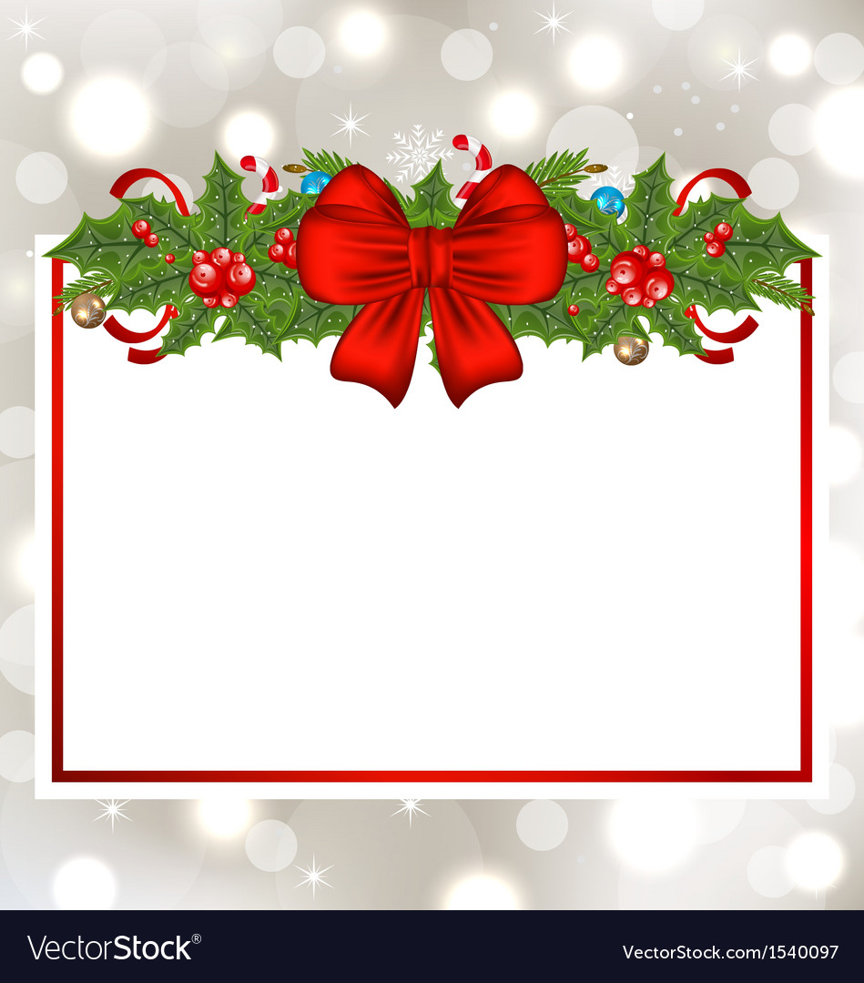 Christmas elegant card with holiday decoration vector | Price: 1 Credit (USD $1)