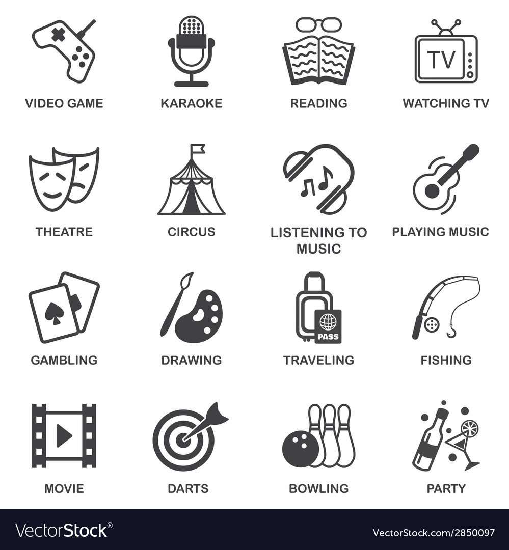 Entertainments icons set vector | Price: 1 Credit (USD $1)