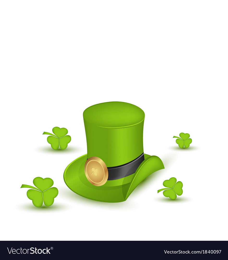 Green hat with buckle with clovers in saint vector | Price: 1 Credit (USD $1)