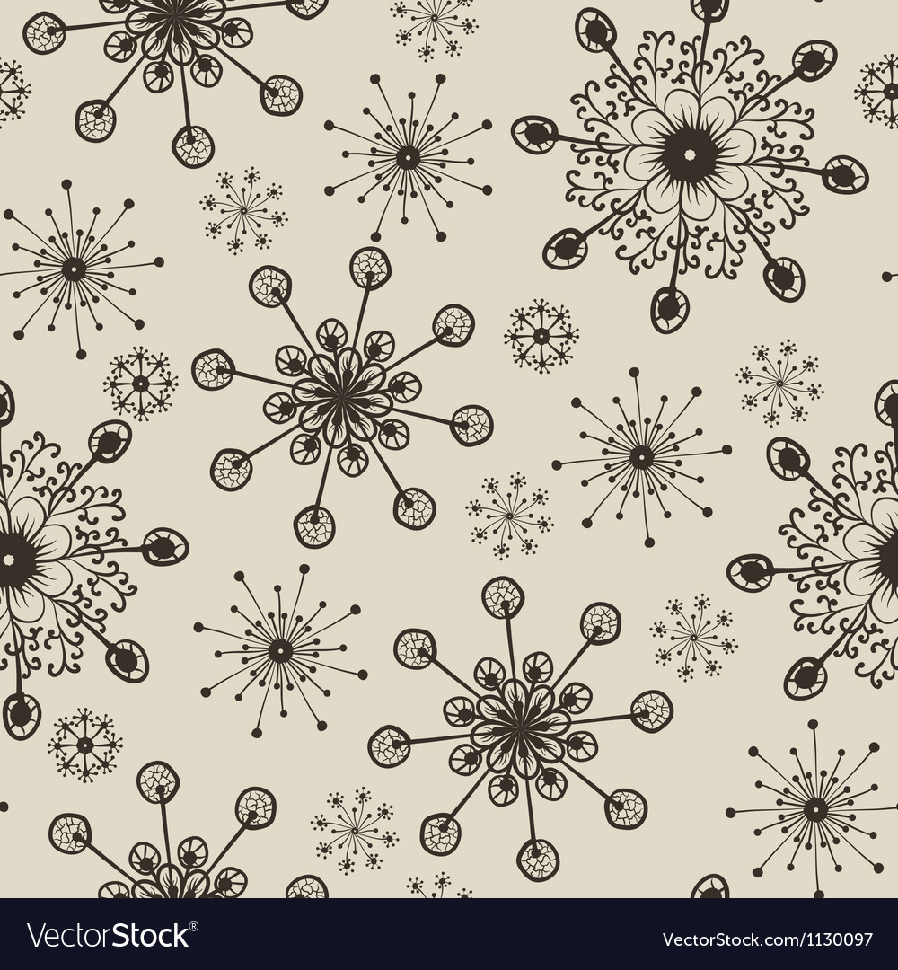 Hand draw snow flakes seamles patern vector | Price: 1 Credit (USD $1)
