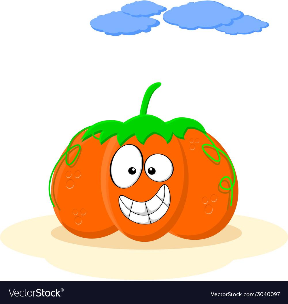 Happy smiling orange cartoon pumpkin vector   Price: 1 Credit (USD $1)