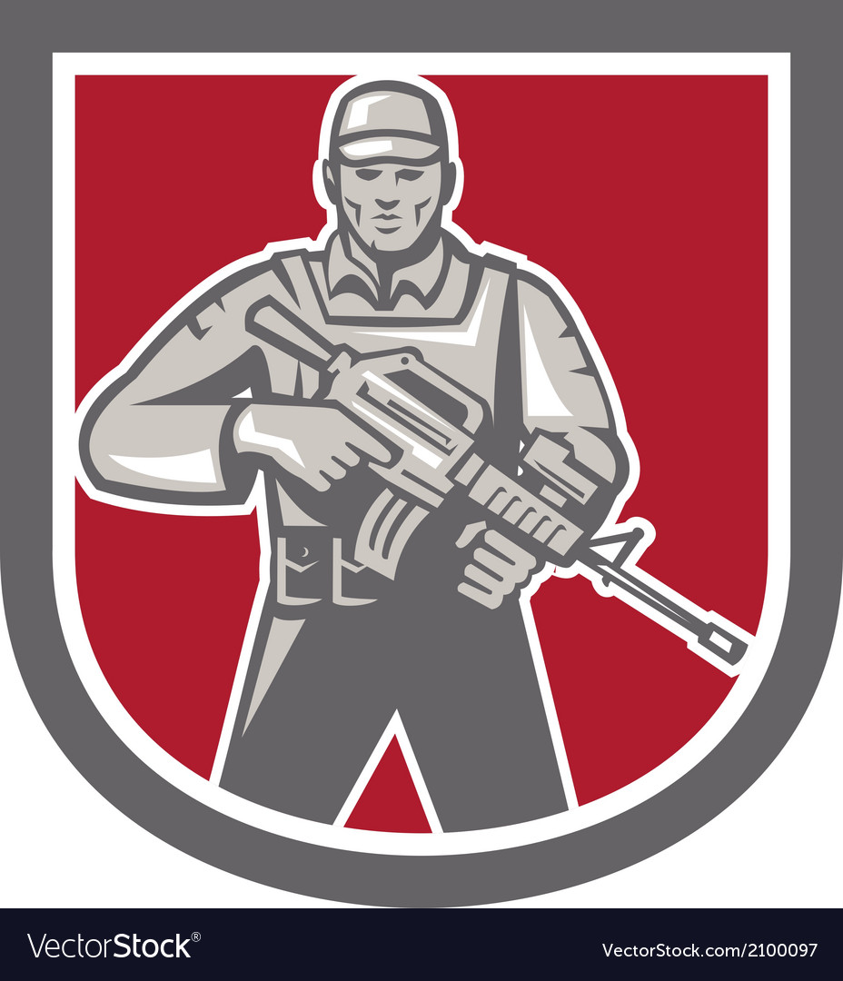 Soldier serviceman with assault rifle shield vector | Price: 1 Credit (USD $1)
