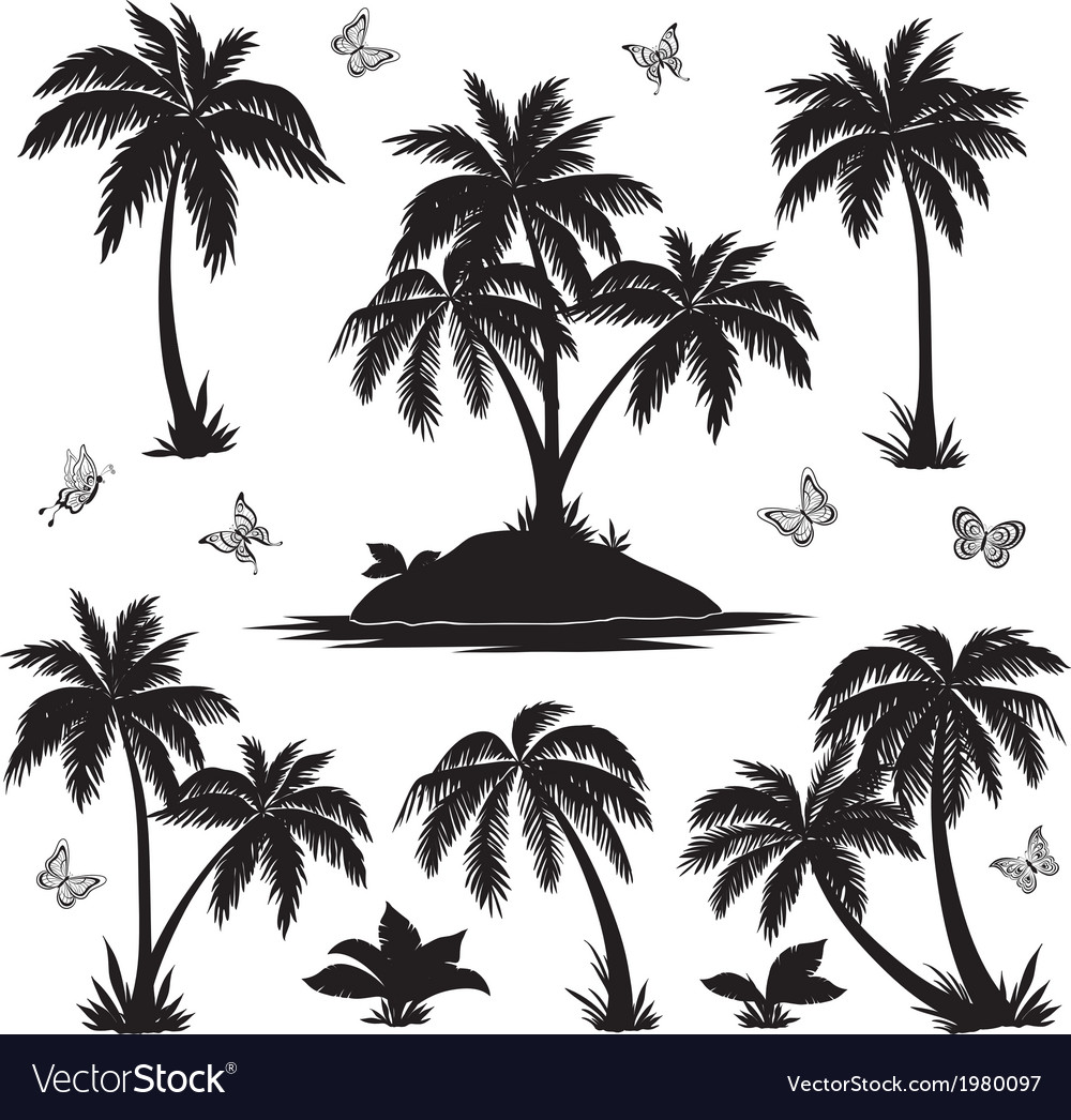 Tropical island palms and butterflies silhouettes vector | Price: 1 Credit (USD $1)