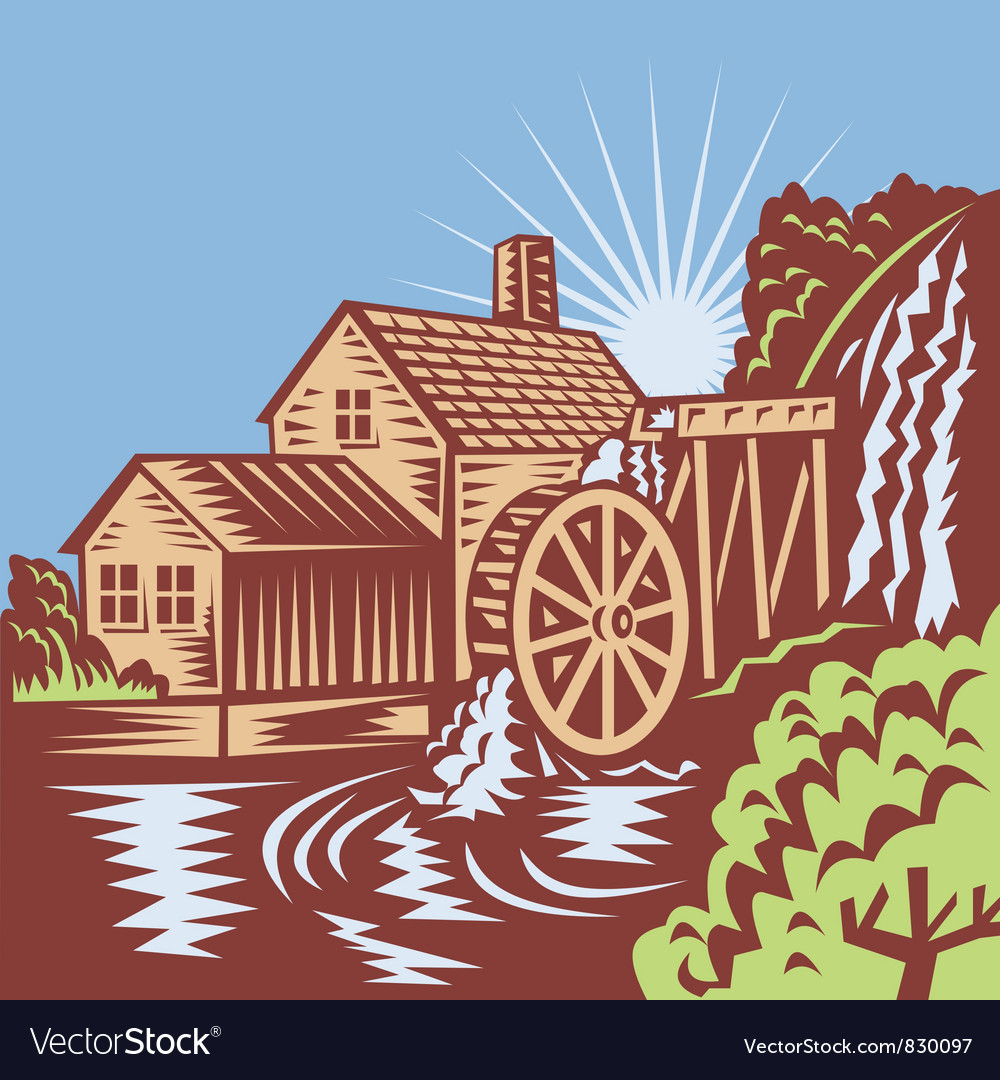 Water wheel mill retro vector | Price: 1 Credit (USD $1)