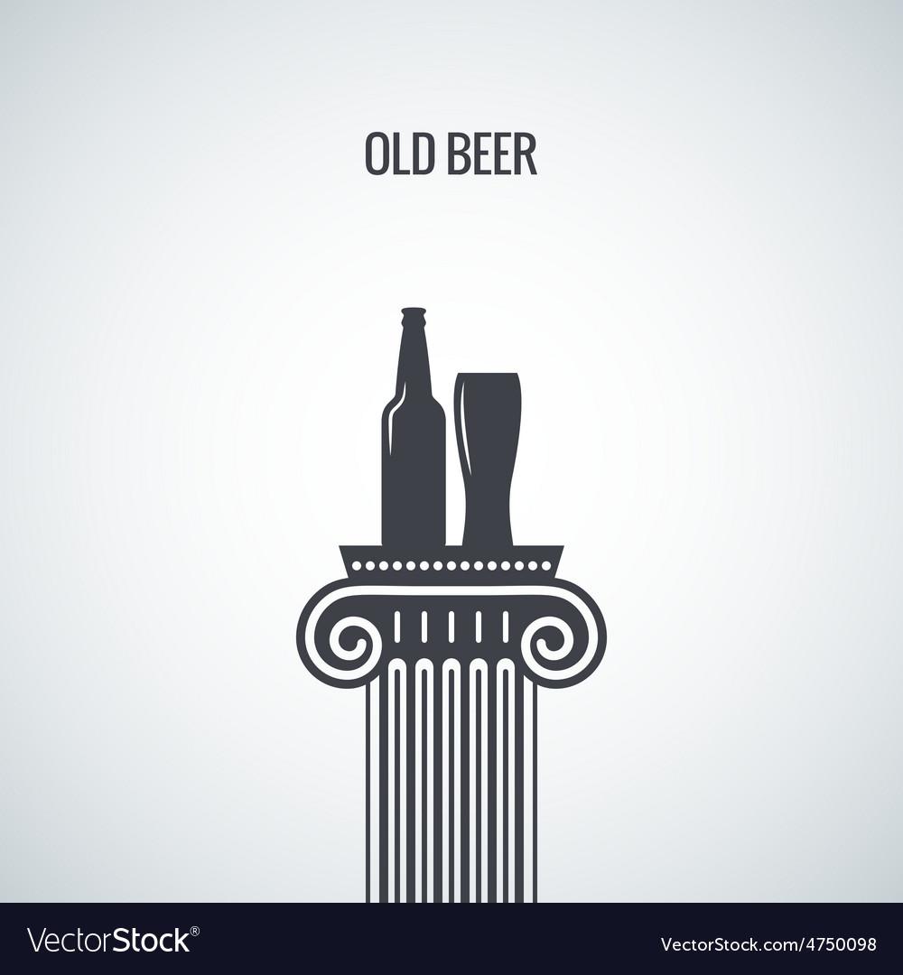 Beer bottle glass classic design background vector | Price: 1 Credit (USD $1)