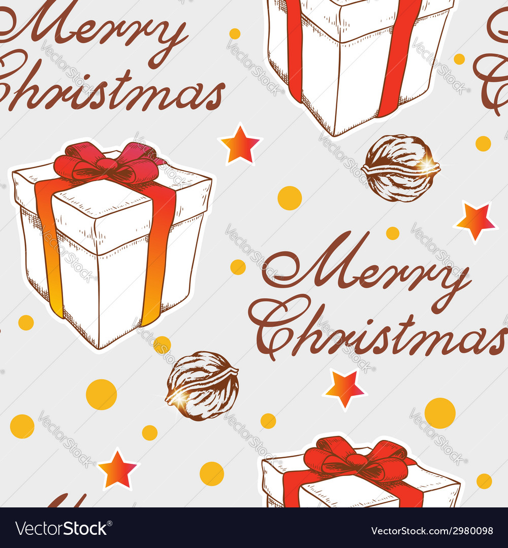 Christmas seamless pattern with gift vector | Price: 1 Credit (USD $1)