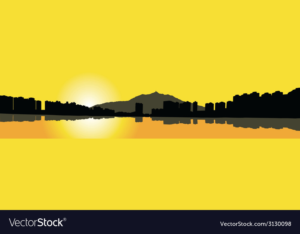 Contour hong kong city on a yellow background vector | Price: 1 Credit (USD $1)