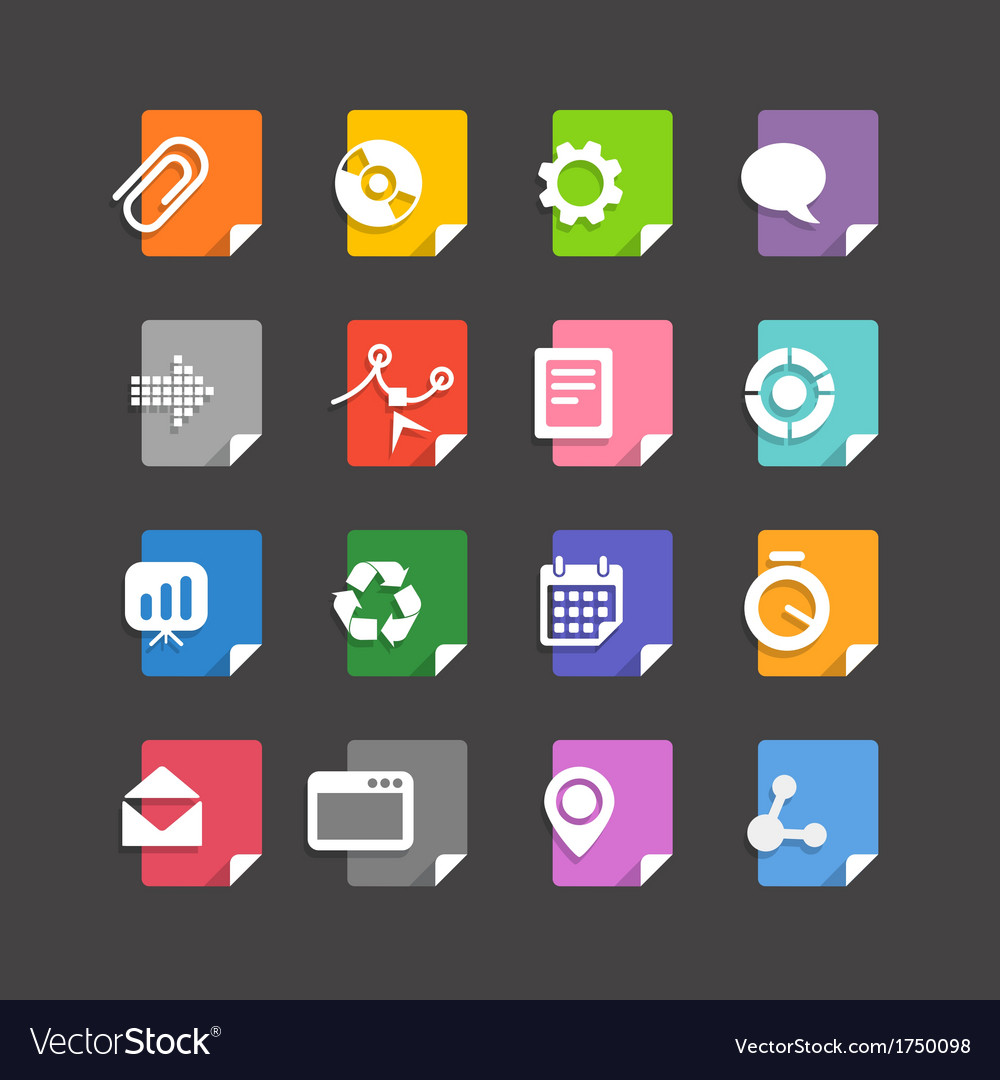 Different file types icons set vector   Price: 1 Credit (USD $1)