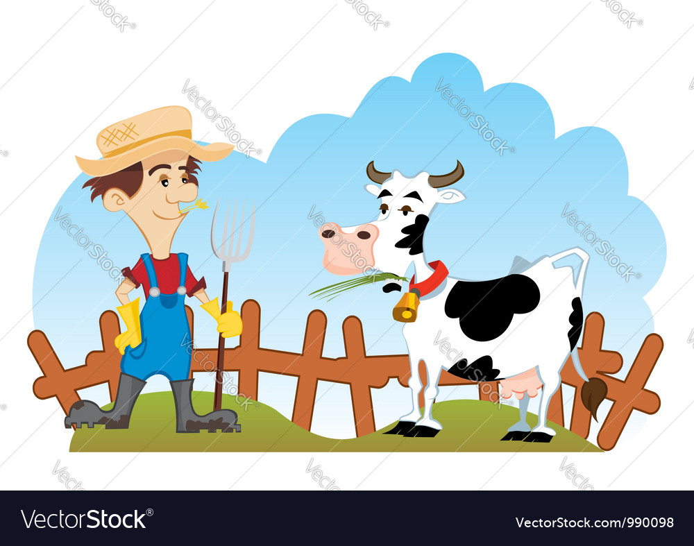 Farmer and cow vector | Price: 3 Credit (USD $3)