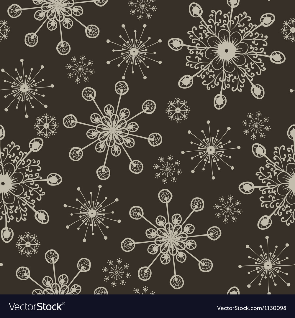 Hand draw snow flakes seamles patern 2 vector | Price: 1 Credit (USD $1)