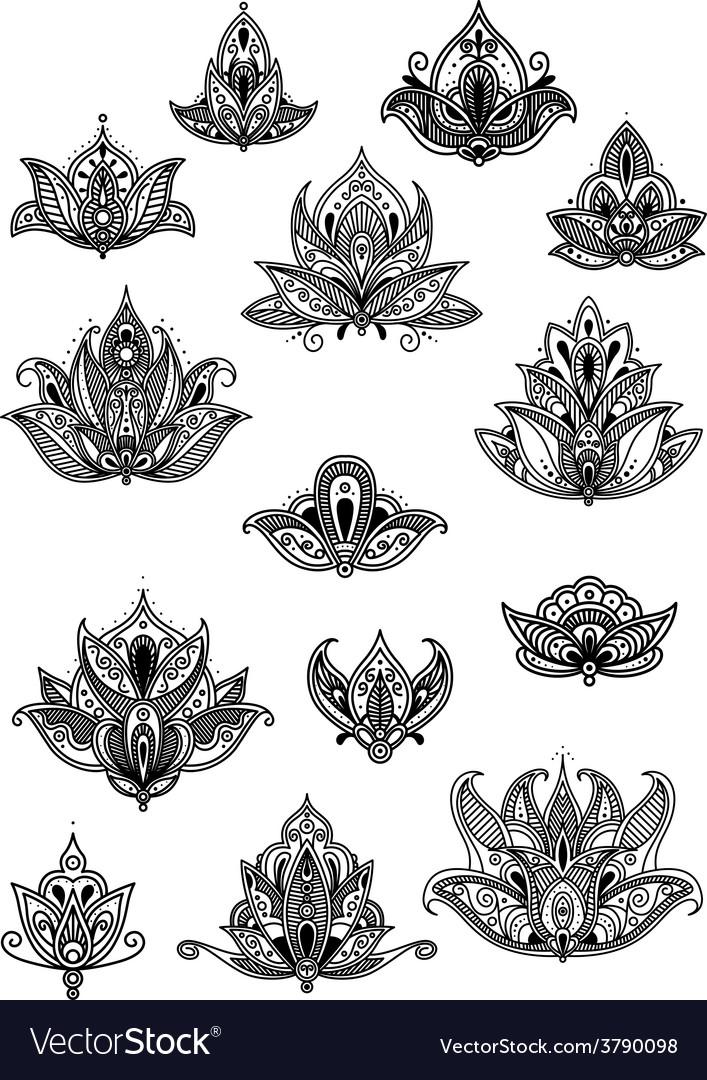 Large set of ornate vintage flower motifs vector | Price: 1 Credit (USD $1)