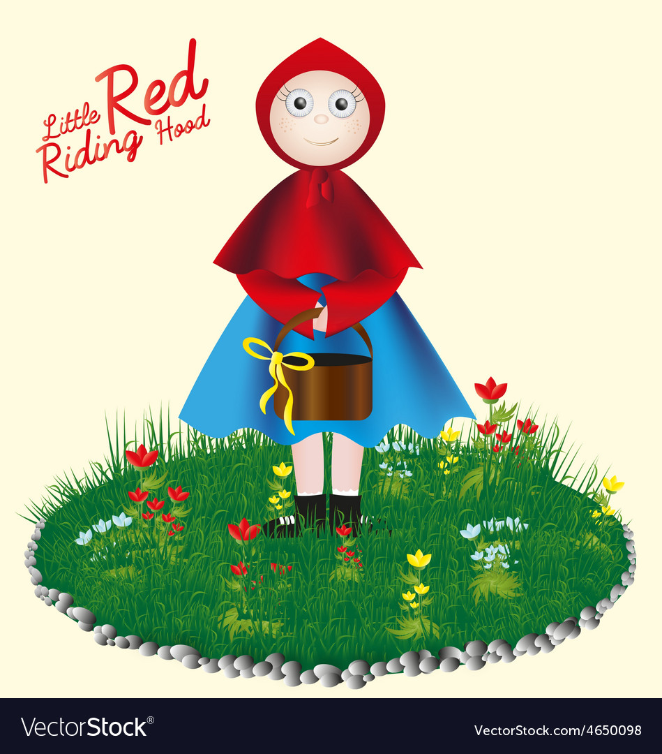 Little red riding hood childrens card vector | Price: 1 Credit (USD $1)