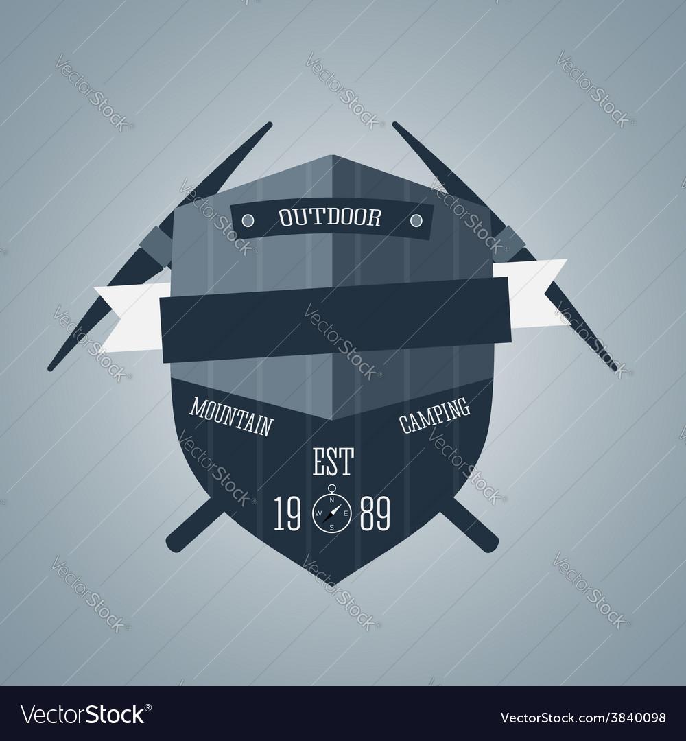 Mountain camping logo wilderness adventure badge vector   Price: 1 Credit (USD $1)