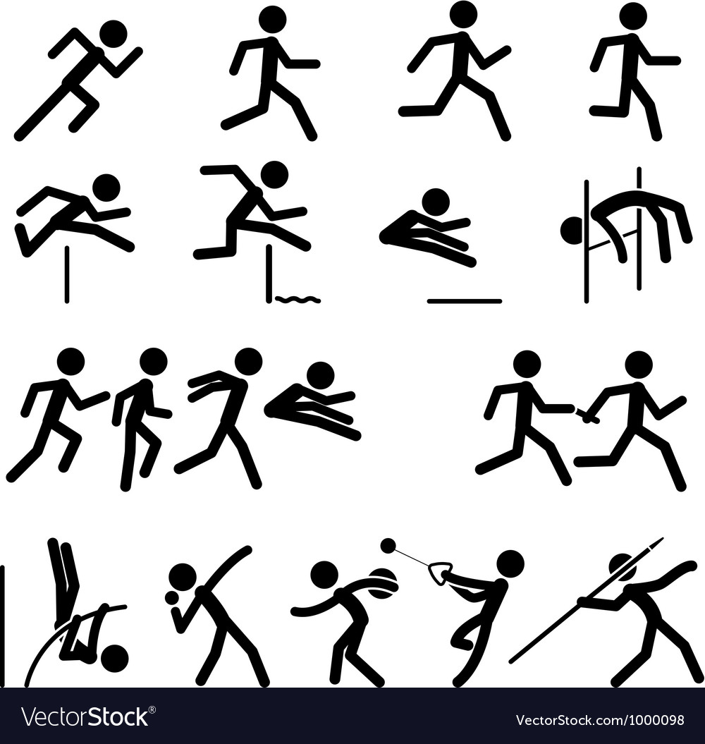 Sport pictogram icon set 02 track and field vector | Price: 1 Credit (USD $1)