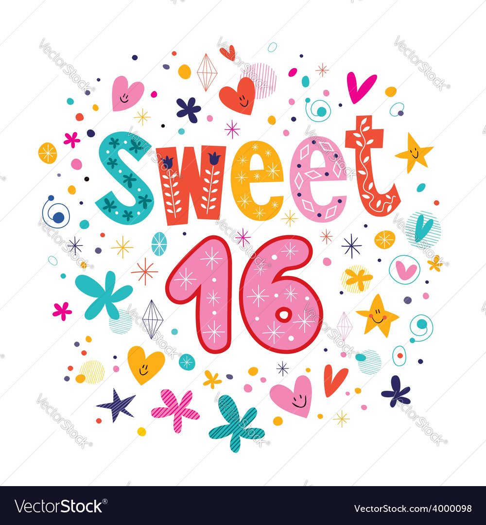 Sweet sixteen text decorative retro typography vector | Price: 1 Credit (USD $1)