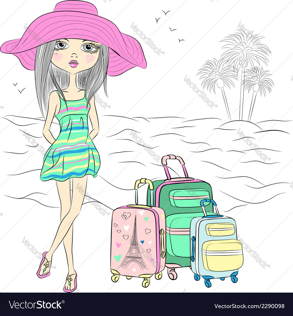 Traveler girl with suitcases on sea beach vector | Price: 1 Credit (USD $1)
