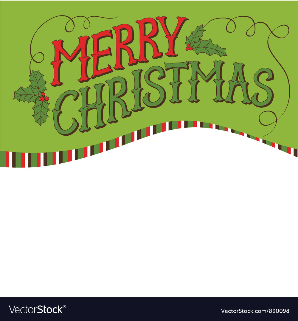 Vintage merry christmas card hand drawn lettering vector | Price: 1 Credit (USD $1)