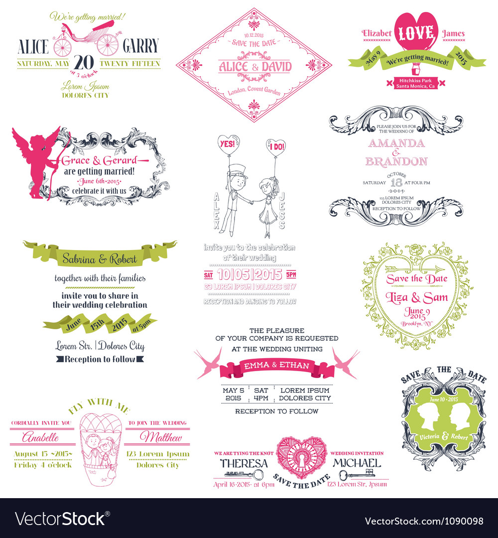 Wedding set of design elements vector | Price: 3 Credit (USD $3)