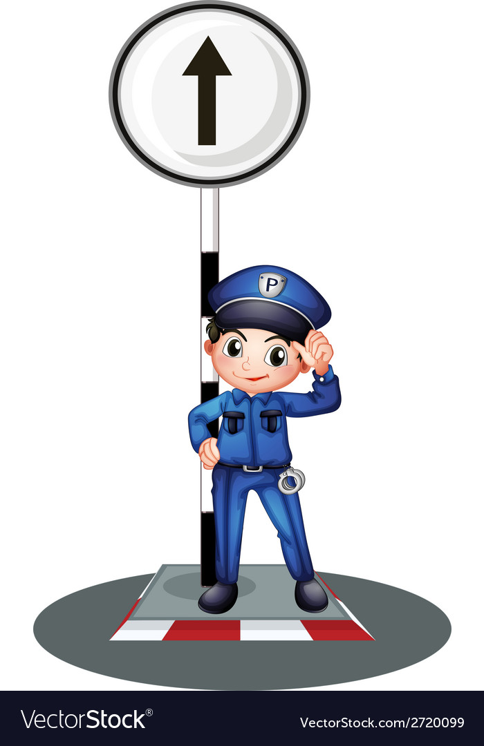 A policeman near the post vector | Price: 1 Credit (USD $1)