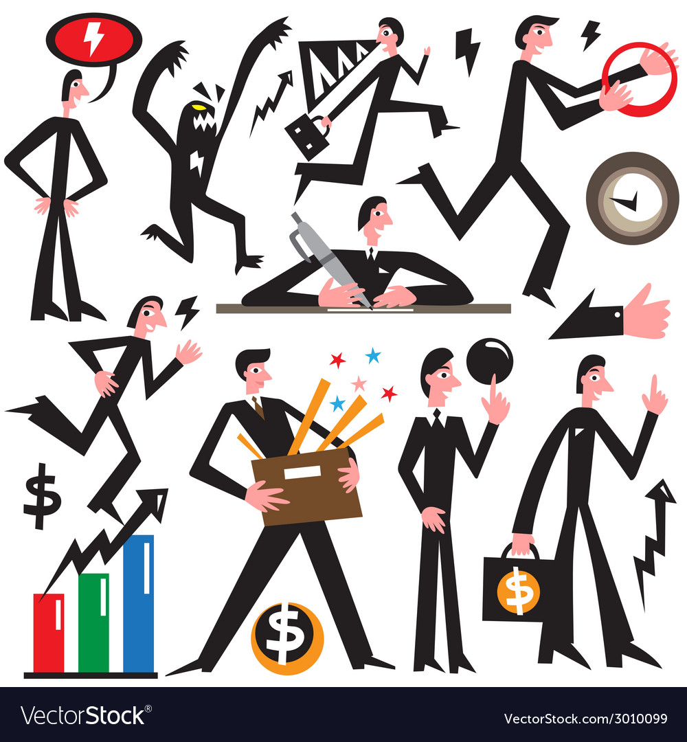 Businessman in various poses - cartoons vector | Price: 1 Credit (USD $1)
