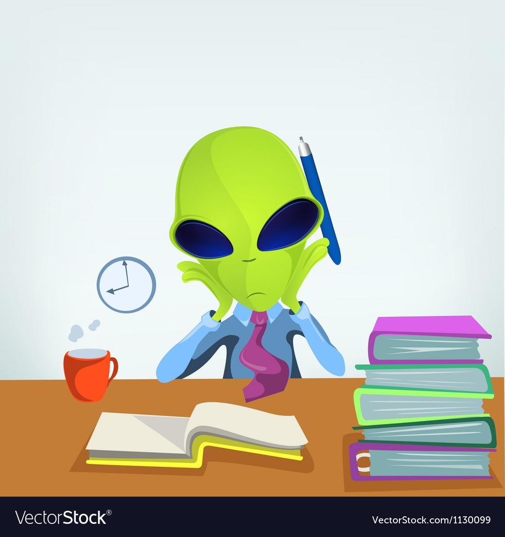 Cartoon office worker alien vector | Price: 1 Credit (USD $1)