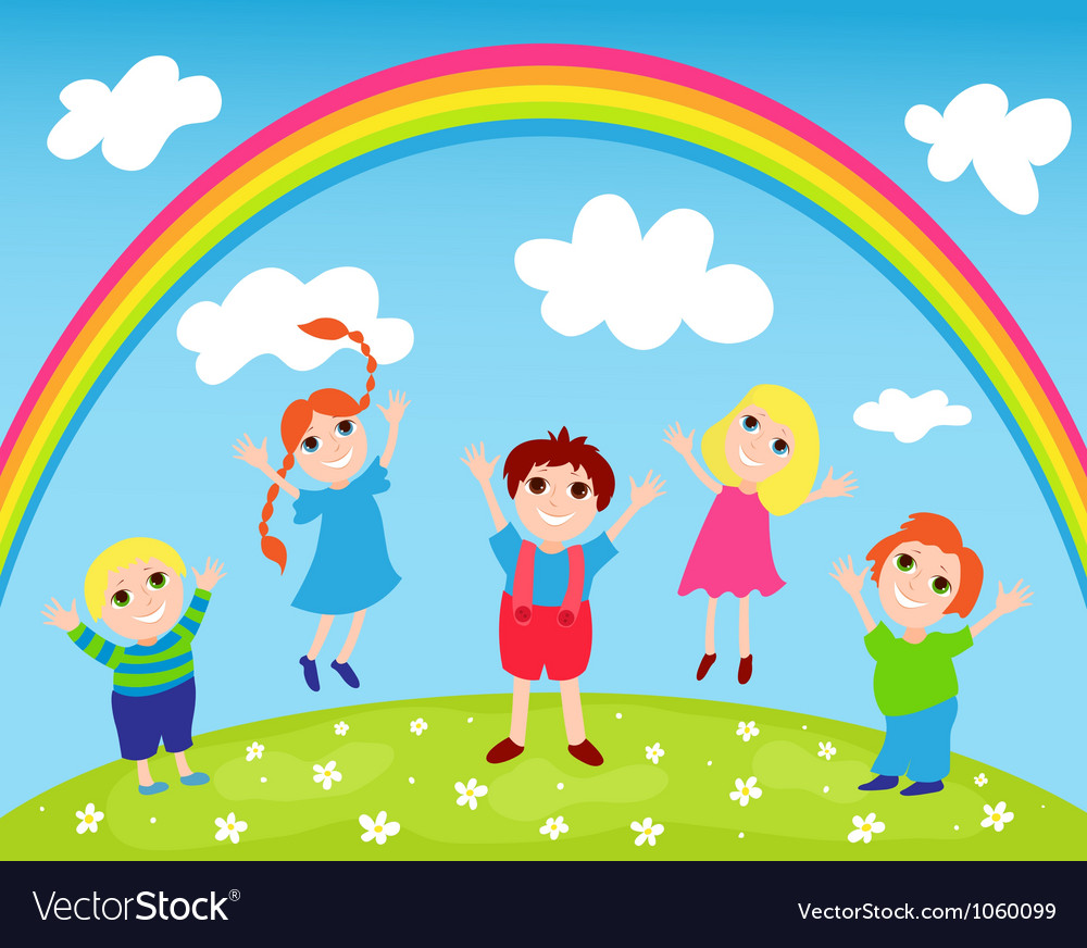 Children and rainbow vector | Price: 1 Credit (USD $1)