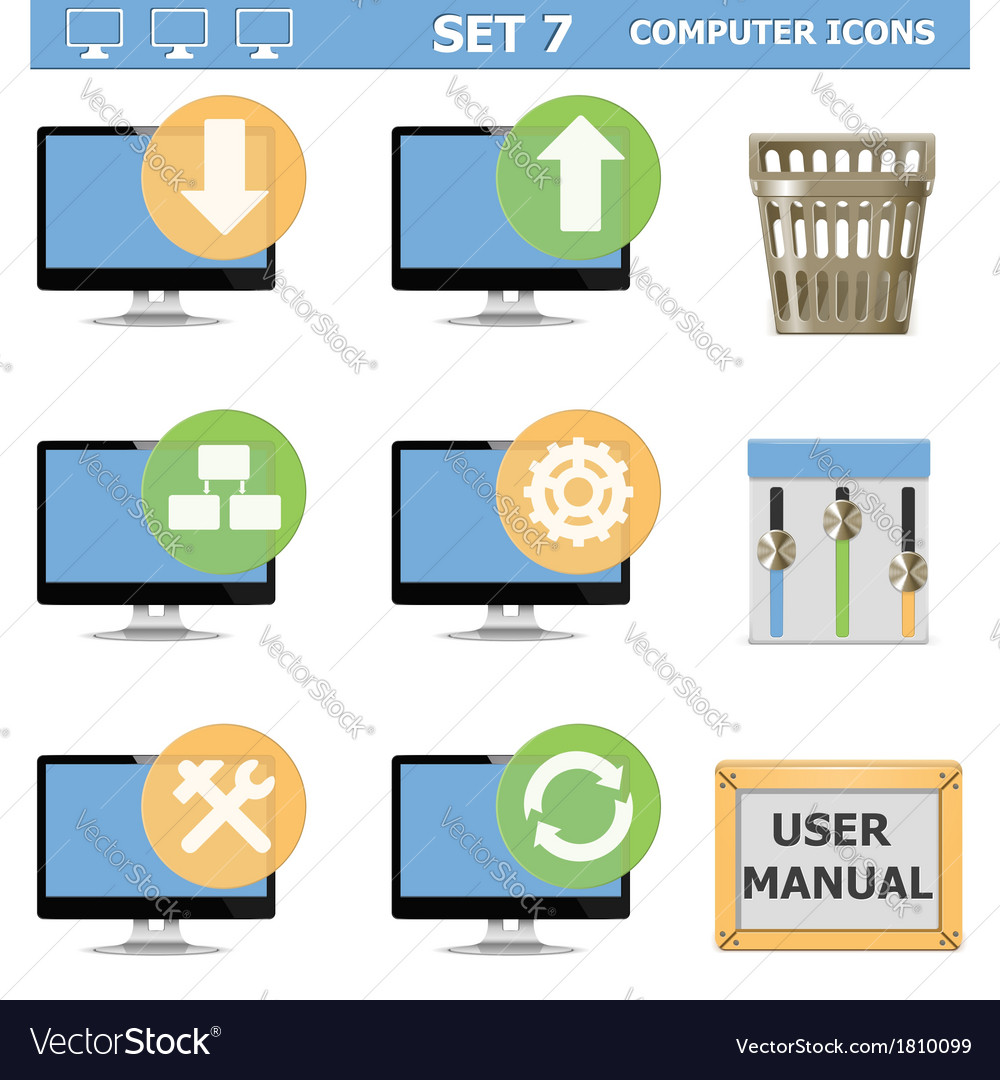 Computer icons set 7 vector | Price: 1 Credit (USD $1)