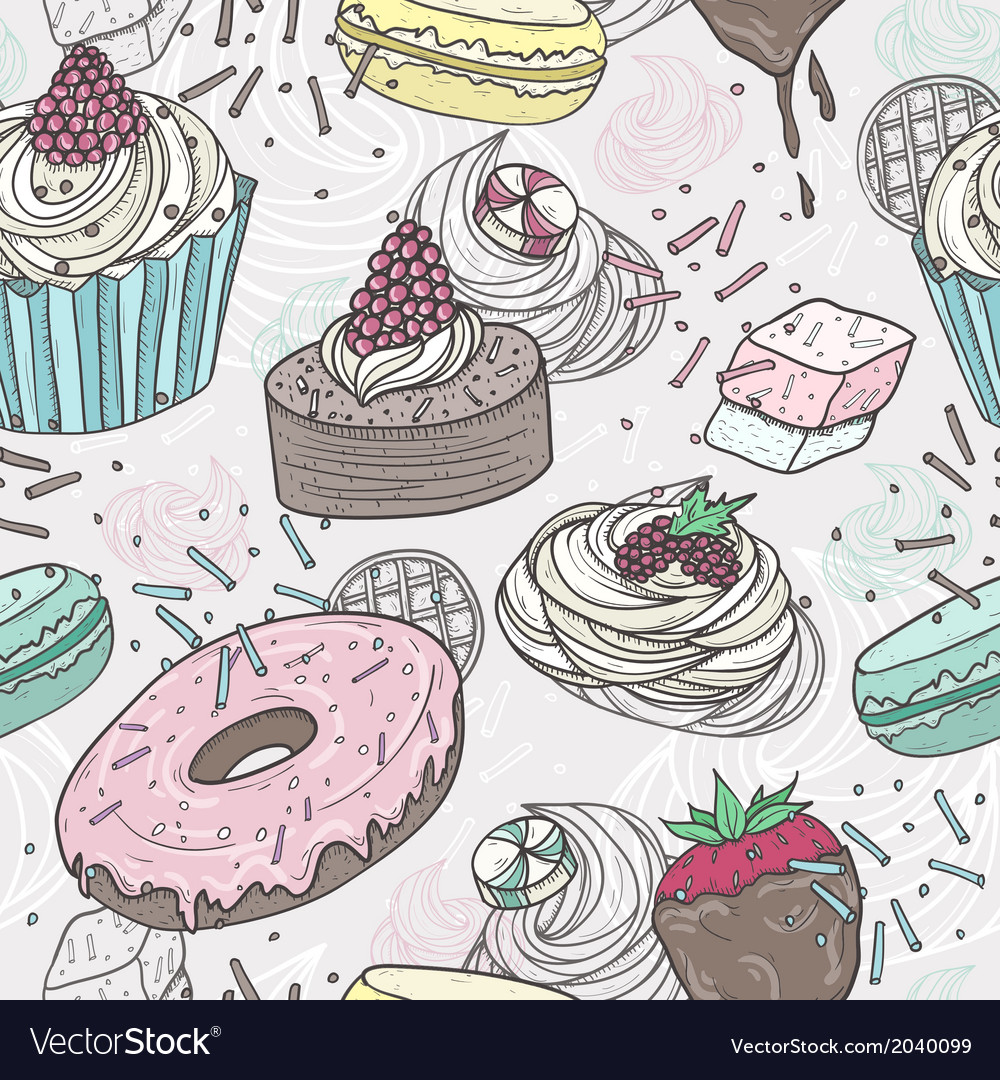 Cute sweets seamless pattern vector | Price: 1 Credit (USD $1)