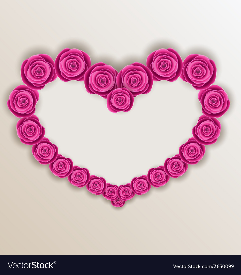 Elegant heart made in roses for valentine day copy vector | Price: 1 Credit (USD $1)
