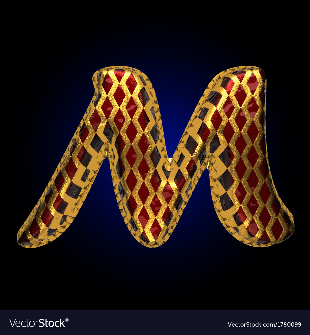 Golden and red letter m vector | Price: 1 Credit (USD $1)