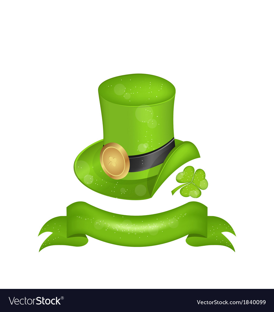 Green hat clover ribbon in saint patrick day - vector | Price: 1 Credit (USD $1)