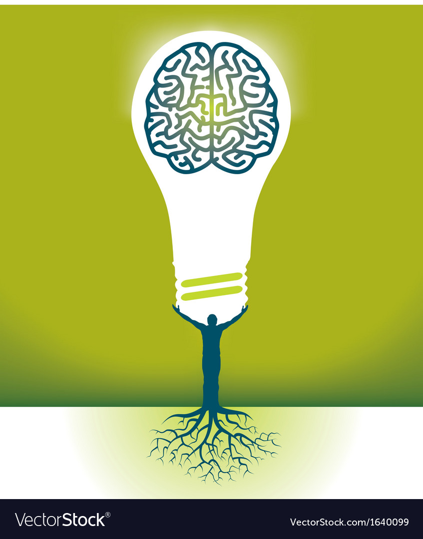 Hand bulb brain vector | Price: 1 Credit (USD $1)