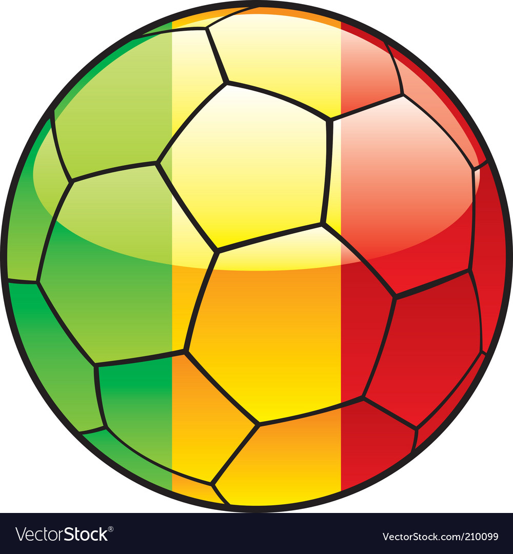 Mali flag on soccer ball vector | Price: 1 Credit (USD $1)