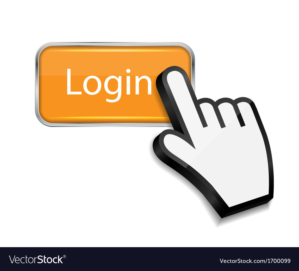 Mouse hand cursor on login button vector | Price: 1 Credit (USD $1)