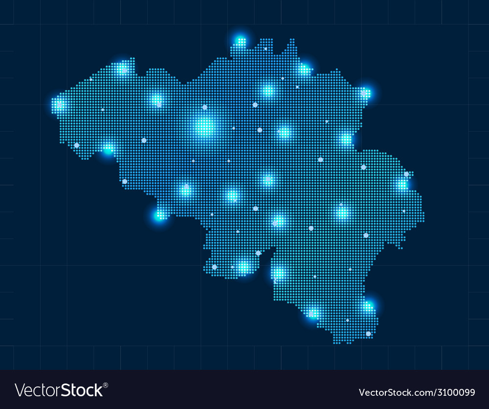 Pixel belgium map with spot lights vector | Price: 1 Credit (USD $1)