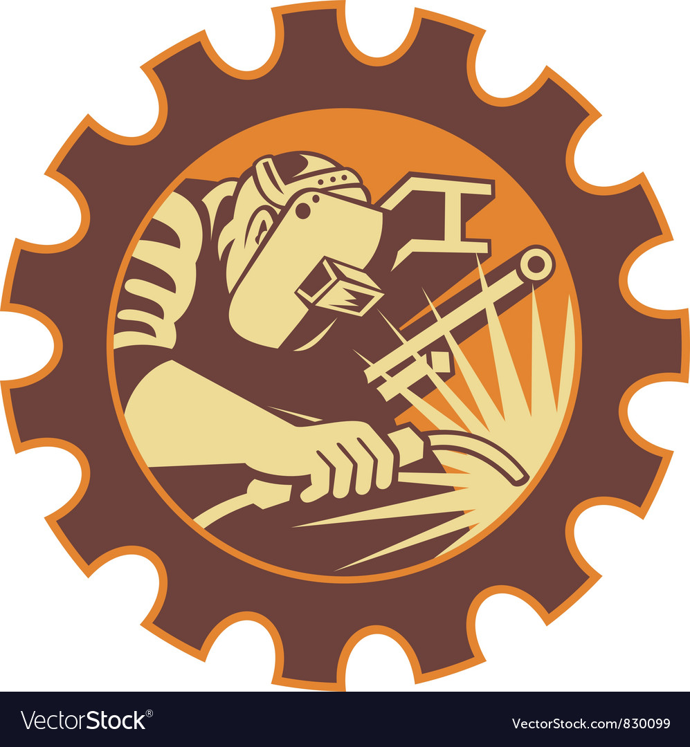 Retro welder icon vector