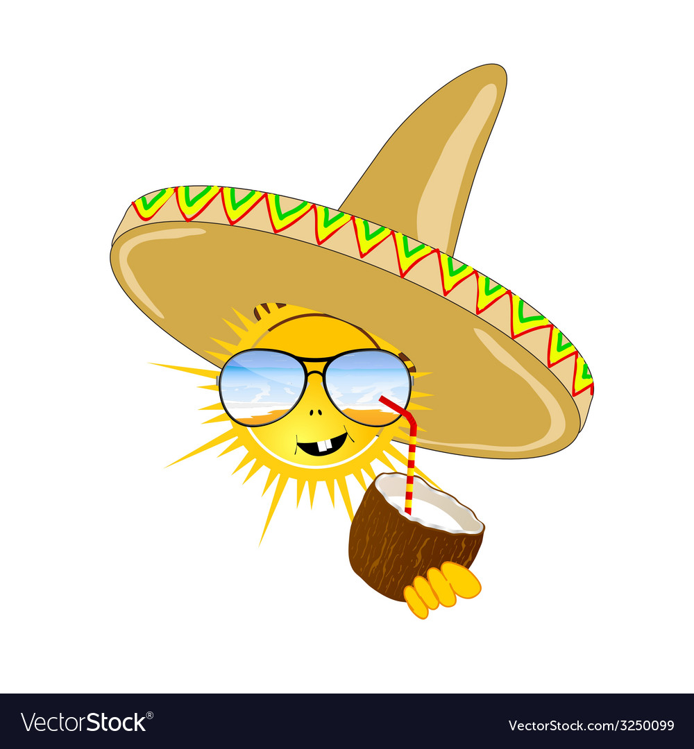 Sun with sombrero and coconut vector | Price: 1 Credit (USD $1)