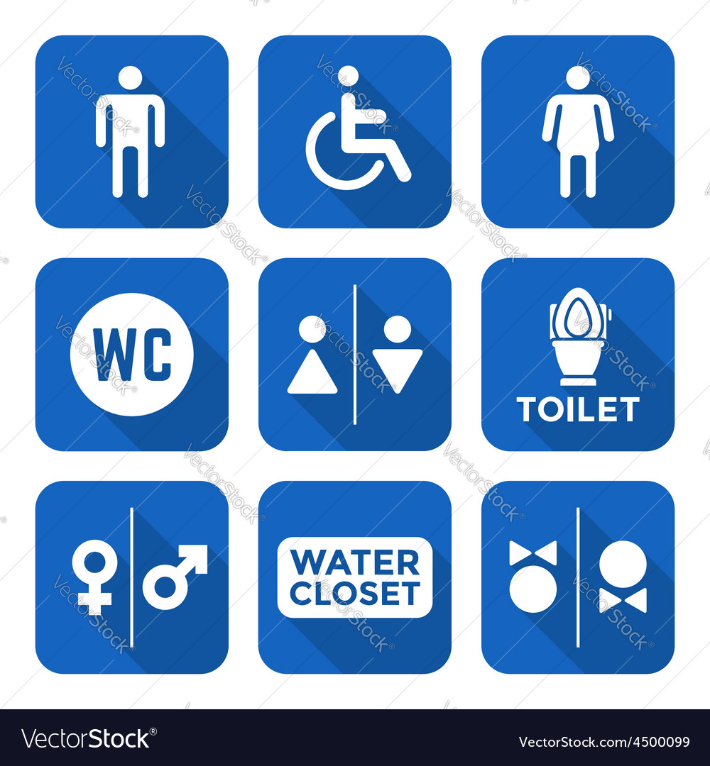 Various white color flat style water closet signs vector | Price: 1 Credit (USD $1)