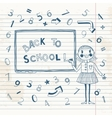 Back to school schoolgirl at the blackboard vector