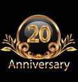 20 years anniversary birthday in gold vector