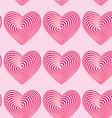 Pink hearts seamless patterns optical 3d vector