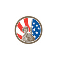 American soldier serviceman bayonet circle retro vector