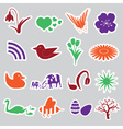Spring stickers set eps10 vector