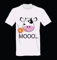 T-shirt with a cow on it art vector