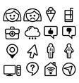 Website menu line stroke icons set - user app vector