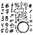 Hand drawn figures elements symbols arrows set - vector
