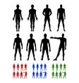 Full length front back silhouette of man set vector