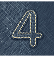 Number 4 made from jeans fabric vector