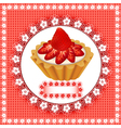 Background with a fruity dessert cake vector